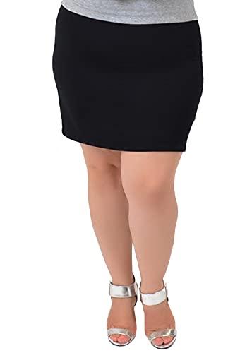 Stretch is Comfort Women's Plus Size Cotton Mini Skirt Black 3X
