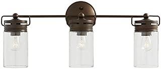 allen + roth 3-Light Vallymede Aged Bronze Bathroom Vanity Light Clear Glass .#GG4346 43ETR98-Y299488