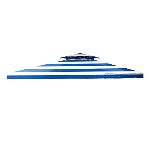 Garden Winds Signature Series 10 x 10 Two-Tiered Replacement Gazebo Canopy Top Cover- Cabana Blue