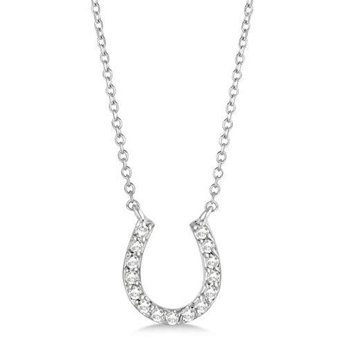 Collar colgante con forma de herradura y collar de pavé de oro blanco de 14 k 0.15 a 25 ct. Collar de herradura de oro, amuleto de buena suerte, collar de oro con suerte