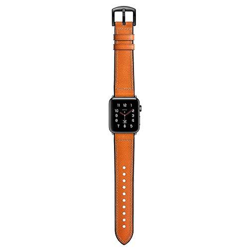 YEDDA - Correa deportiva para Apple Series 4, piel auténtica con correa de goma para Apple iWatch Series 1, 2, 3, 38 mm, 42 mm (color: naranja, tamaño: 42 mm)