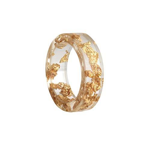Anillos de resina Anillos de acrílico transparente Vintage con hoja de oro Anillo de dedo retro Regalo de joyería para el día de la madre para mujeres y niñas