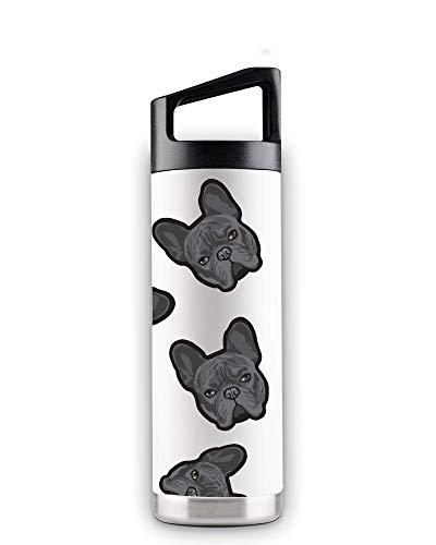Lifestyle Dogs 16oz White Stainless Steel Bottles (Black French Bulldog)
