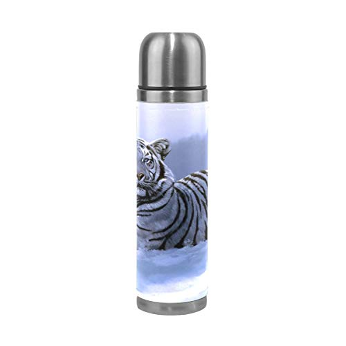 Snow Tiger termo de acero inoxidable a prueba de fugas, doble pared, aislado al vacío, botella de agua de 17 onzas talla única Multi 01