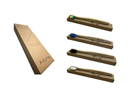 Umweltfreundliche Zahnbürste aus Bambus (oder Bambus) mit Mobide Borsten aus Nylon zur Pflege empfindlicher Zähne und Zahnfleisch Medio Pacco Da 4