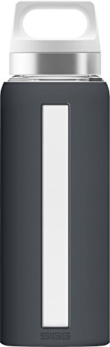 Sigg Dream Shade, Silikonhülle, 0.65 L, Hitzebeständig, BPA Frei, Dunkel Grau Glas Trinkflasche, Anthrazit, 7.6 x 7.6 x 24.4 cm