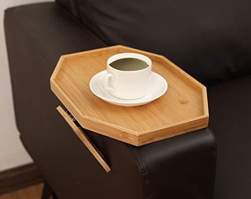 Soporte para sofá y mesa con clip en la bandeja del sofá, reposabrazos, bandeja de madera de bambú natural, soporte para mando a distancia