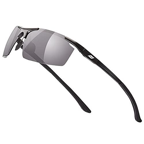 Fashion Polarized Sunglasses UV Blocking Protection Anti-Glaring Al-Mg Alloy Metal Frame for Men, Driving