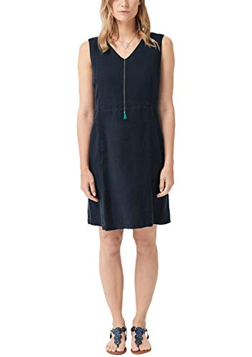 s.Oliver RED Label Damen Figurbetontes Leinenkleid mit V-Neck Navy 40