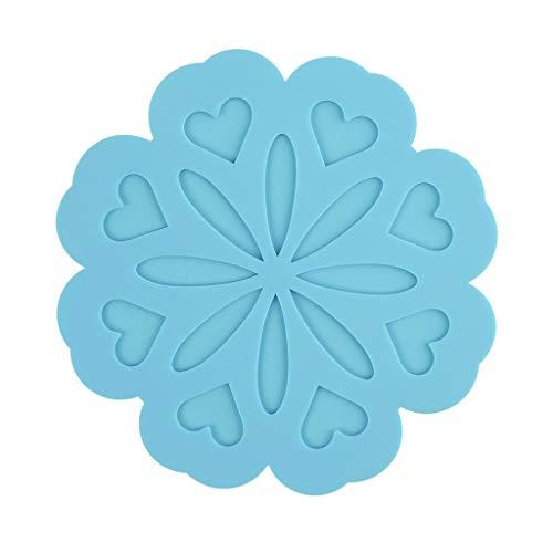 Py Creative Accueil antidérapante imperméable Anti-Chaud Arts de la Table Pad 4 Combinaison Pad en Silicone (Color : Blue)