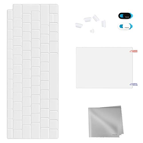 MOSISO Kit de Protección Completa Compatible con 2019 2018 MacBook Air 13 Pulgadas A1932 Retina, Cubierta de Teclado TPU & Tapón de Polvo & Cubierta de Webcam & Protector de Trackpad&Paño de Limpieza