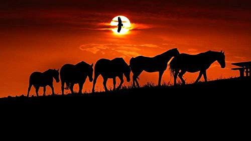 1000 piezas de rompecabezas para adultos, juego de madera grande, dificultad, siluetas de caballos al atardecer, rompecabezas de colección de pájaros del cielo naranja