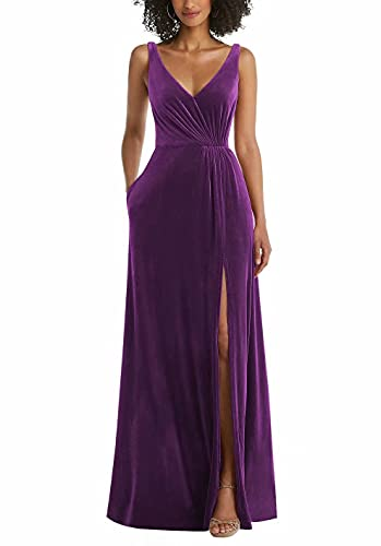 Velvet Bridesmaid Dresses for Wedding Long V Neck Split Sleeveless Formal Dress Grape Pink Size US4