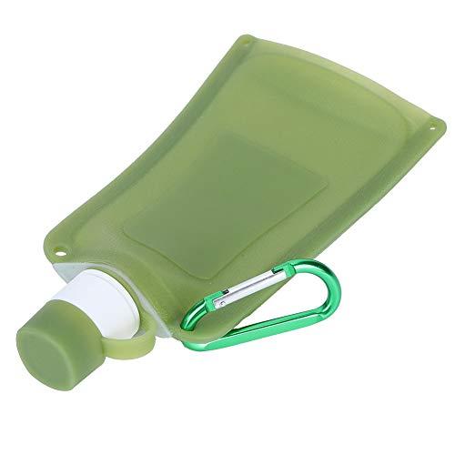 Weikeya Botellas de agua plegables, botella de agua con infusor plegable, 500 ml, gel de sílice de 24,5 x 13 cm, para viajes al aire libre, camping, ciclismo