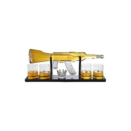 Decantador de vino de cristal hecho a mano, Decantador de tipos de armas Decantador de arma de compras eléctrica con vidrio de bala, decantador de rifle elegante whisky 800ml con 4 bala de vidrio de w