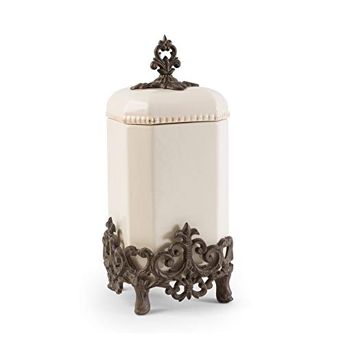 Review Of 16 Cream White and Brown Vintage-Inspired Canister with Fleur-de-lis Metal Base