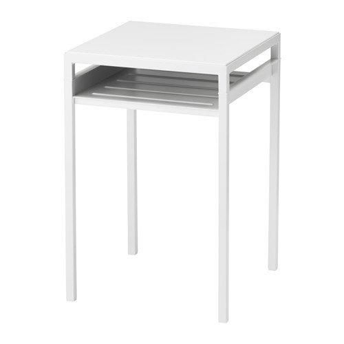 """Ikea Mesa Auxiliar con Tapa de Mesa Reversible, Color Blanco/Gris, tamaño 15, 3/4 x 15 3/4 x 23 5/8"""""""