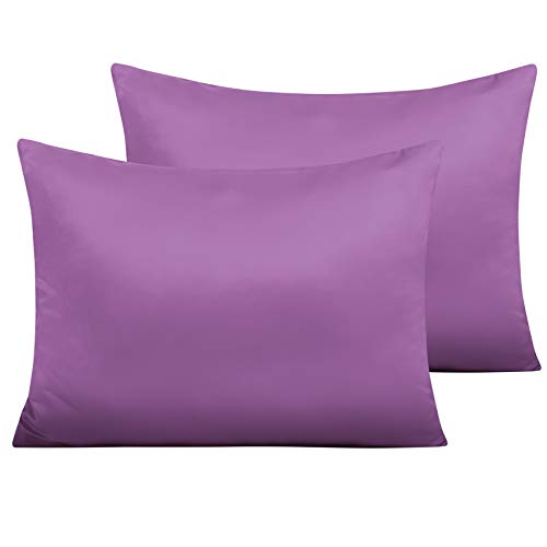 NTBAY Zippered Satin Pillow Cases for Hair and Skin, Luxury Standard Hidden Zipper Pillowcases Set of 2, 20 x 26 Inches, Purple
