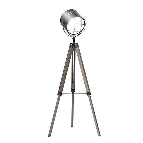 HOMCOM Lampadaire trépied projecteur Style Industriel néo-rétro Hauteur réglable 63l x 63P x 111-151H cm Bois Gris métal Noir