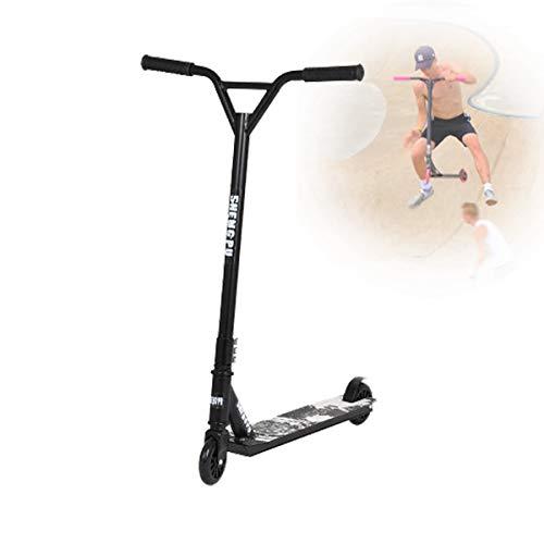 Deportes Extremos Scooters para JóVenes Adultos,Truco Genial AutomóViles de Dos Ruedas Scooters de Pedal,con 360° Manillares Giratorios/Manillares en Forma de Y,Negro