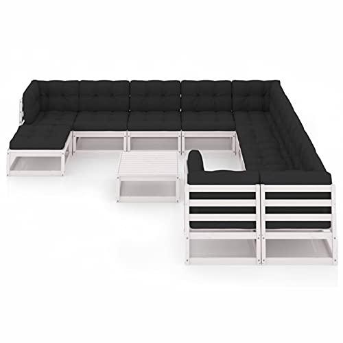 Susany Muebles de jardín 12 pzas y Cojines Blanco Madera Maciza Pino 12# Conjuntos Sofa Exterior Patio Sofás Palets