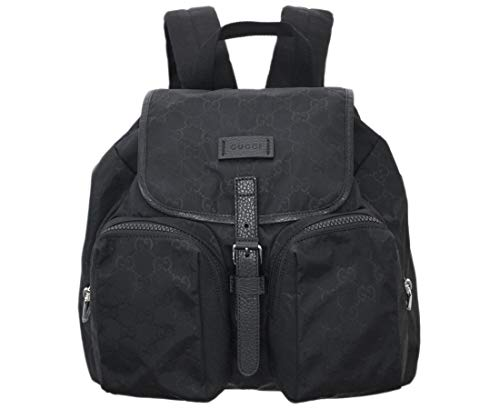 Gucci Unisex Two Front Pockets Black GG Nylon Medium Backpack 510343 1000