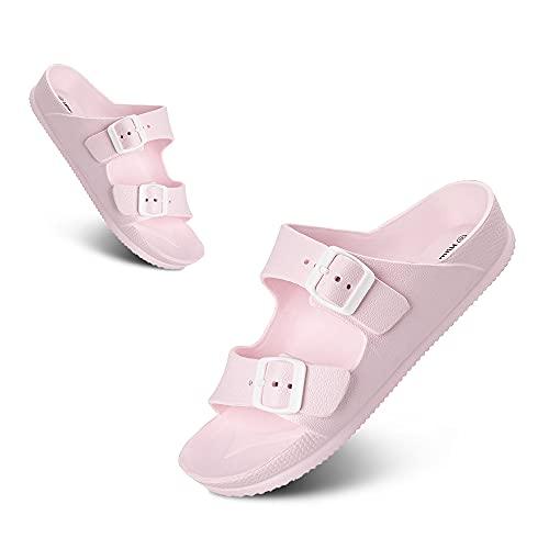 Sandalias Mujer Ligero Moda Sandalias Antideslizante Cómodo Verano Adulto Zapatos de Playa y Piscina Rosa Talla 40