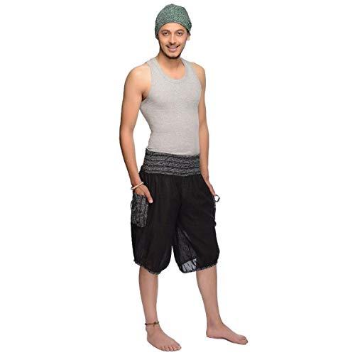 Haremshose Shorts Bermuda Jogginghose Sweathose Freizeithose Trainingshose gesmokt Varkala Herren (Schwarz, Einheitsgröße)