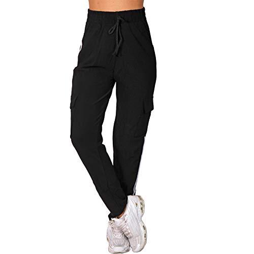 Candygirls Pantaloni da jogging a vita alta, pantaloni cargo da allenamento, per fitness, P5322 Nero X-Small-Small