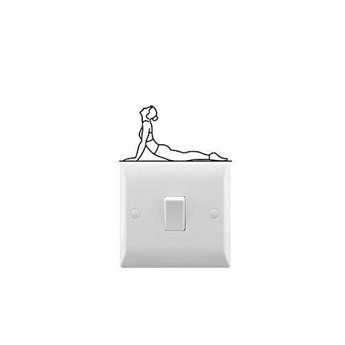 AiEnmaw Calcomanía de vinilo para yoga, señora, estiramiento, interruptor de luz, calcomanía extraíble, diseño de decoración de casa de 8 x 4 cm