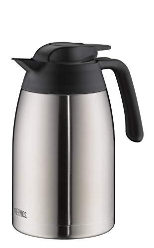 THERMOS 4026.205.150 Thermoskanne THV, Edelstahl mattiert 1,5 l, 12 Stunden heiß, 24 Stunden kalt, zerlegbarer Verschluss, BPA-Frei