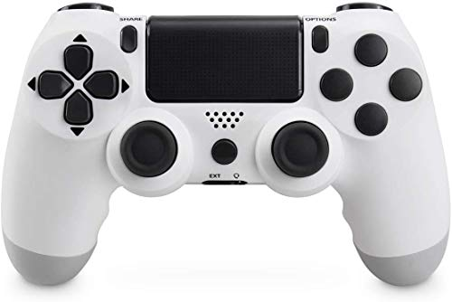 Mando Inalámbrico para PS4, Mando Inalámbrico Gamepad Doble Vibración Seis Ejes Mando Game Compatible con Playstation 4/PS4 Slim/PS4 Pro (Bianca)