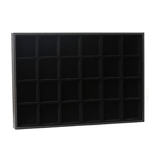 RJJX Vacío / 12/24 / 36 / Compartimiento Joyas de exhibición Caja de Almacenamiento Tray Showcase Organizer Pendiente Soporte Joyería (Color : 24 Compartment)