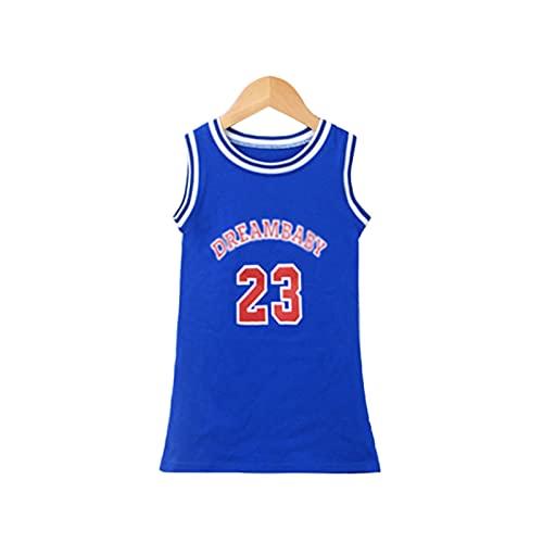 FASHIONN Vestido para niñas Ropa de Baloncesto Casual Transpirable rápido seco Cuello Redondo Chaleco (90 cm-130cm) blue-100cm