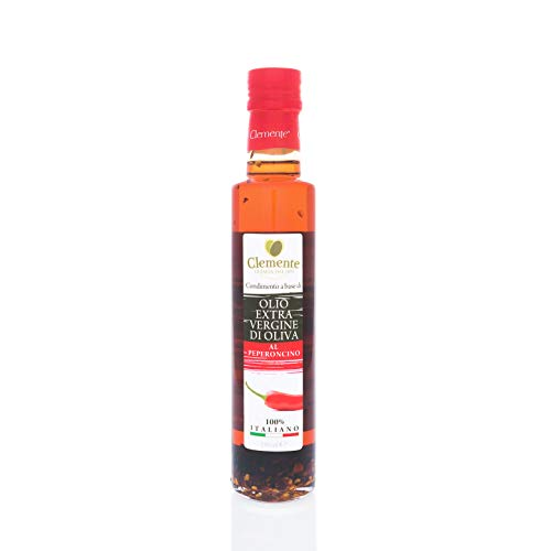 Olearia Clemente 1 Bottiglia di Olio Extra Vergine di Oliva, 100% Italiano, Aromatizzato al Peperoncino, 250ml