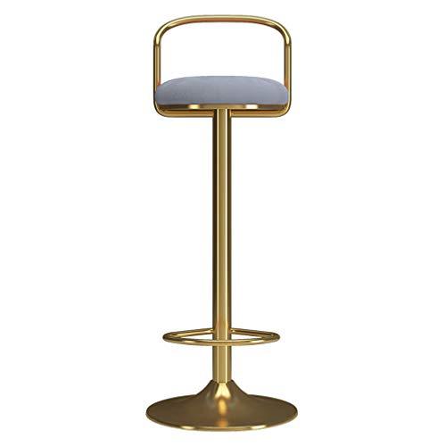 Chaise de Tabouret de Bar 65-80cm Repose-Pieds et Dossier en Fer doré Chaise de Salle à Manger avec siège pivotant Réglable en Hauteur pour Kitchen Pub Café, Max. Charge 440lb,Gray