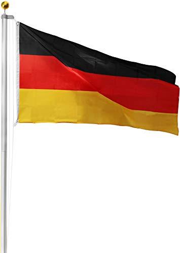 Aluminium Fahnenmast inkl. Deutschland Fahne + Bodenhülse + Zugseil - in verschiedenen Höhen wählbar Farbe Germany Größe 6.20 Meter