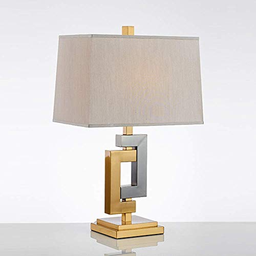 LHQ-HQ Moderna tela metálica de lujo simple lámpara de escritorio luz cálida LED lámpara de mesa para la sala de estar dormitorios oficina 43 * 70 cm simple romántico