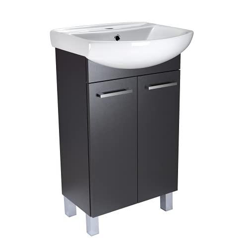 Lavabo con armario bajo Lugo, mueble de baño, juego de 50 cm, lavabo de pie con armario inferior (grafito)