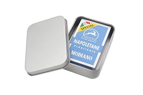 Set Napoletane Spielkarten Modiano, Sonderauflage, Special Azzurre, Cartoncino Triplo 300056 Forza Napoli (+ Metalldose und Karten in Faltschachtel)