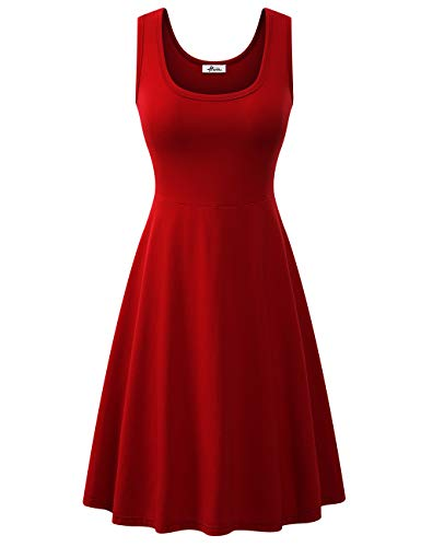 Herou Red Cotton Elegant Simple Dresses for Women Casual Small