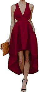 Imily Bela Womens High Low Plunge Cutout Cocktail Maxi Dress Plain Fit and Flare Gown Outfit