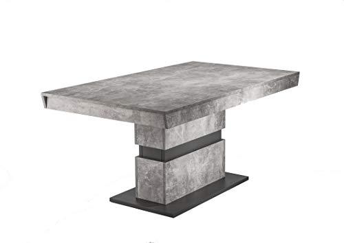 HOMEXPERTS Esszimmertisch MARLEY / moderner Küchentisch 160 cm mit fester Tischplatte / Ess-Tisch in Light Atelier Beton Optik grau / 160 x 90 x 75cm (LxBxH)