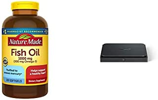 Nature Made Fish Oil 1000 mg, 320 Softgels, Fish Oil Omega 3 Supplement for Heart Health + Amazon Dash Smart Shelf (Small - 7
