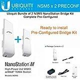 Ubiquiti NSM5 X 2 Units Complete Pre-Configured Nanostation M5 Bridge Kit