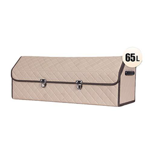 LiPengTaoHome Car Storage Box Faux Leather Appearance Folding Car Organizer Trunk Storage Box Classification Storage Large Capacity Car Luggage Bag (Color : Beige, Size : 753230cm)