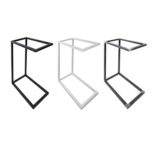 Natural Goods Berlin 1x Beistelltisch C-Form | Laptoptisch aus Metall und Holz | Couchtisch Sofa Kaffeetisch Sessel | praktische Ablage | Nachttisch Unterschieben (ohne Tischplatte, Weiß)