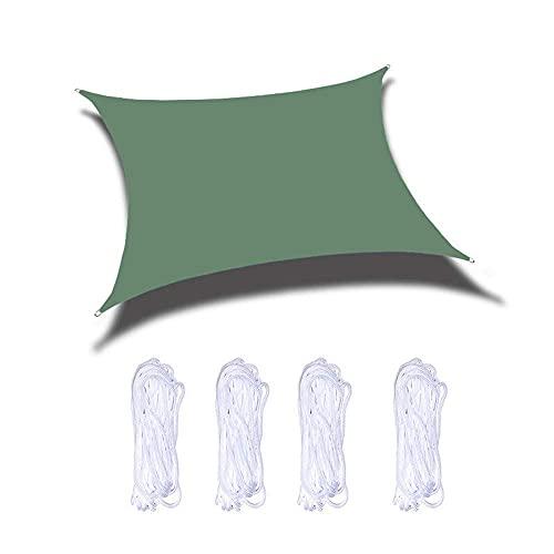 Parasol de jardín de 3 x 3 m, protección solar de seguridad, varios tamaños con cuerda de sujeción, sin sabor, para terraza, patio, patio, jardín, actividades de césped, color verde oscuro, 3 x 5 m