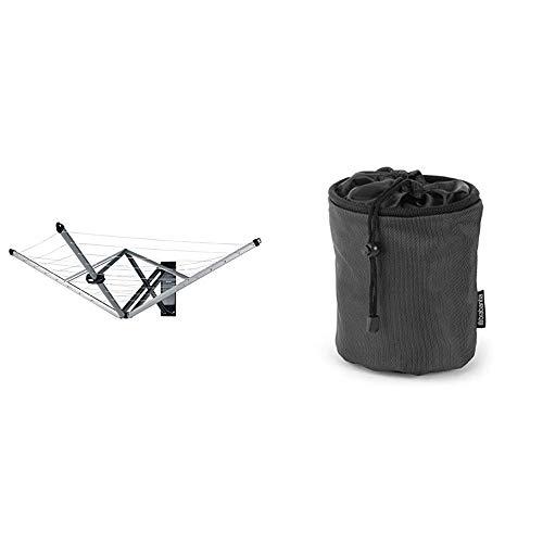 Brabantia WallFix Tendedero Plegable con Funda de Protección, Metal, Gris, 0 cm + 105760 Bolsa para Pinzas, Negro, 0 cm