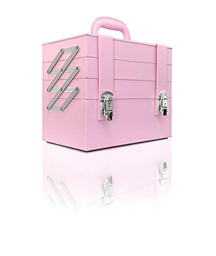 Beauty case professionale con lucchetto organizer per cosmetici astuccio da trucco valigetta rigida portagioie con 4 scomparti 30 x 18 x 25 cm (rosa)